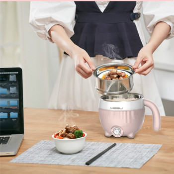 Portable Electric Mini Multi Cooker Hot Pot Cooker Steamer Red Dot Design Frying Pan Pink Needle Pot for Student Office Worker 130usd frying pan multi function household pot student dormitory artifact mini electric cooker noodle baile li 9 9