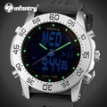 INFANTRY Mens Watches LED Display Dual Time Wristwatches Rubber Strap Sports Watches Marine Corps Alarm Clocks Relojes Hombre