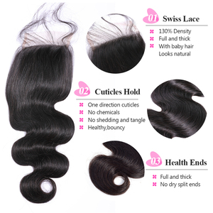 """Image 3 - ISEE włosów brazylijski ciało fala bez zapięć część szwajcarski zamknięcie koronki 4 """"x 4"""" 100% Remy ludzki włos darmowa wysyłka natura kolor"""