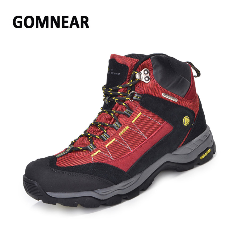 GOMNEAR Waterproof Hiking Shoes Men Big Size Climbing Camping Boots Breathable Wearable Antiskid Damping Sports Chaussures peak sport speed eagle v men basketball shoes cushion 3 revolve tech sneakers breathable damping wear athletic boots eur 40 50