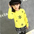 Child's Autumn and Winter Girl Thickening Set Head Mohair Sweaters Children Knitted Kids Clothing White Yellow Rose Red