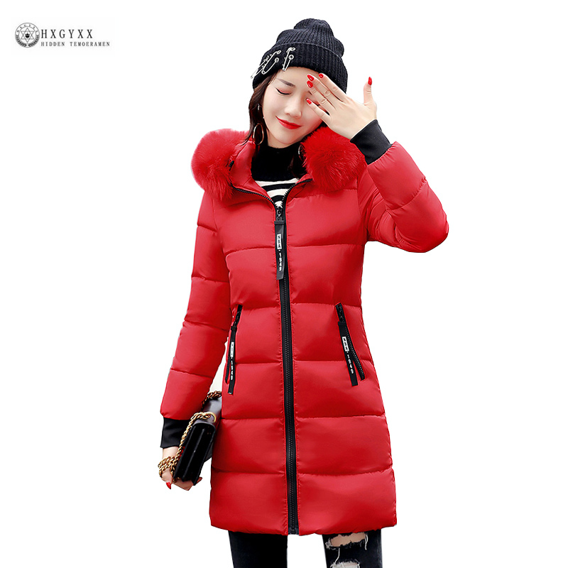 2017 New Hot Women Cotton Coat Plus Size Wadded Winter Jacket Long Parkas Female Fur Collar Thick Warm Hooded Outerwear OK976 wadded cotton jacket 2017 new winter long parkas hooded slim coat pattern designs thick warm coat plus sizes female outwears