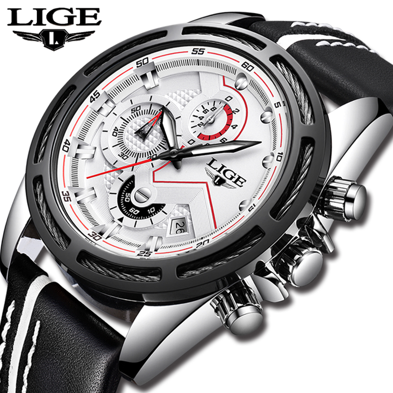 LIGE Official Quartz Men Watches Fashion Genuine Leather Chronograph Watch Clock for Gentle Men Male Students Relogio Masculino armiforce quartz men watches fashion genuine leather chronograph watch clock for gentle men male students reloj hombre