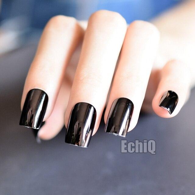 Shiny Dark Metallic Artificial Nail Tips Square Press On Nails ...