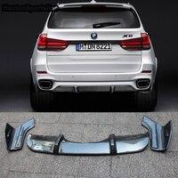 X5 F15 M Спорт углеродного волокна заднего бампера для губ Диффузор с боковыми Splitte для BMW X5 F15 M tech 2014 2015 2016 2017