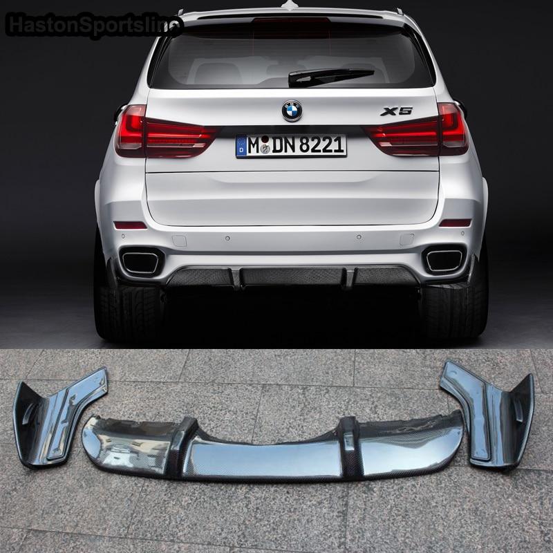 X5 F15 M Sport Carbon Fiber Rear Bumper Lip Diffuser With Side Splitte for BMW X5 F15 M tech 2014 2015 2016 2017 f15 x5 carbon fiber bodykit for bmw f15 x5 m tech m sport bumper body kit rear diffuser