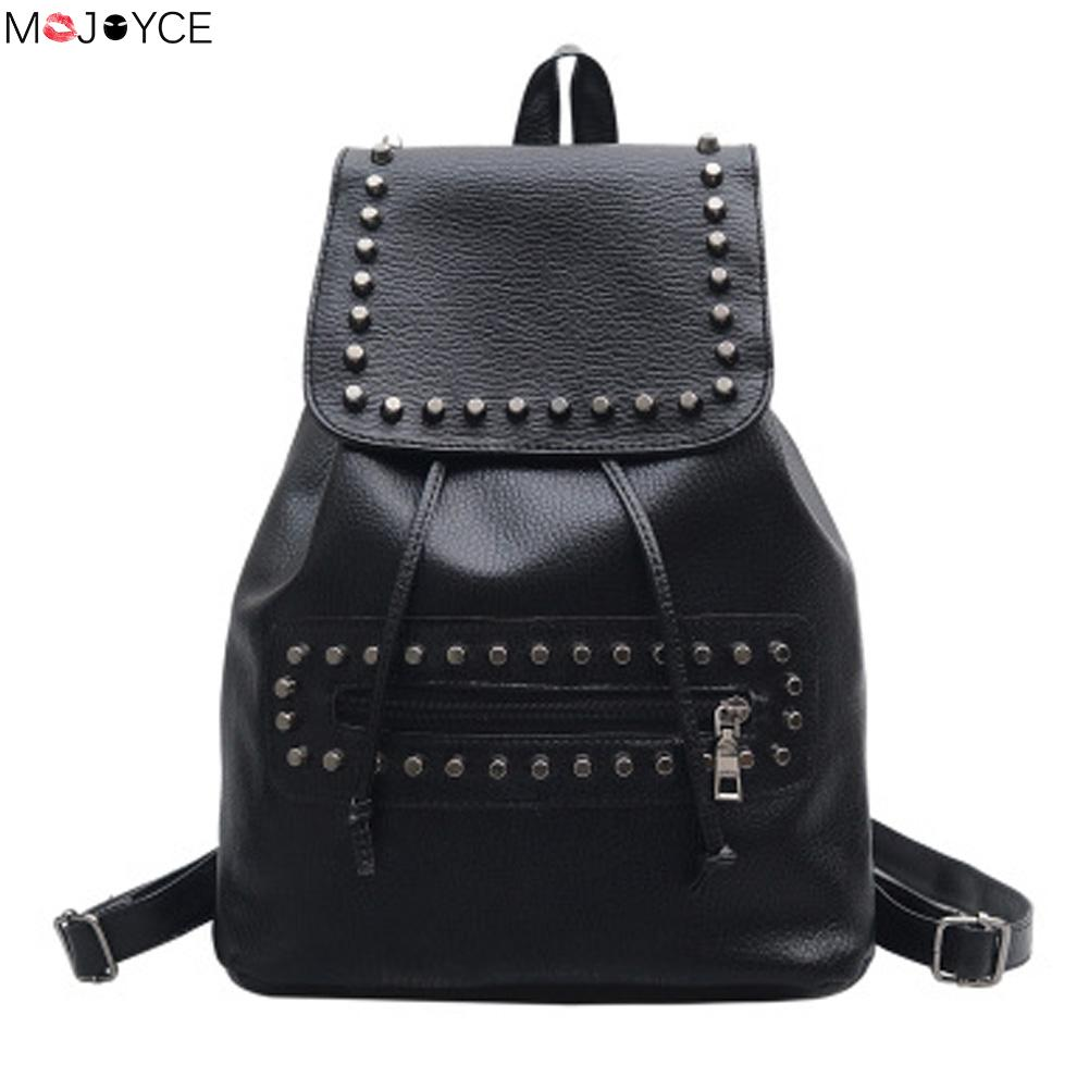 цены на 2017  Casual Girls School Bag Ladies Travel Rucksack Fashion Women PU Leather Rivet Black Backpack bolsa feminina в интернет-магазинах