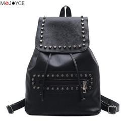 2017 casual girls school bag ladies travel rucksack fashion women pu leather rivet black backpack.jpg 250x250