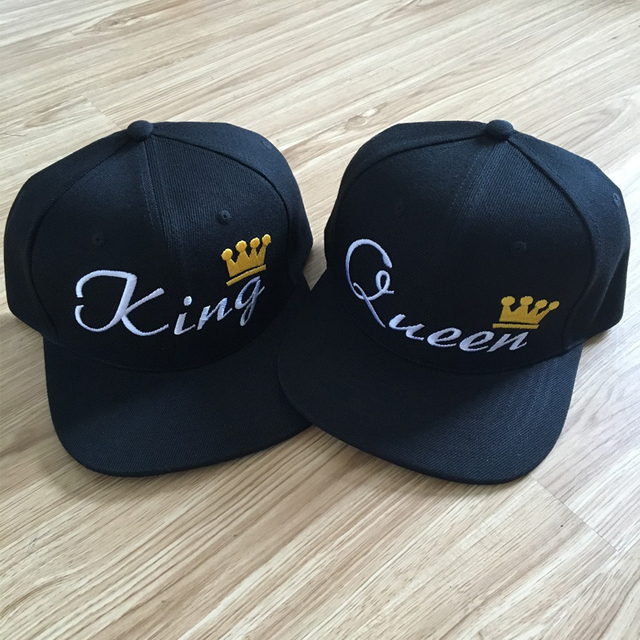 KING QUEEN Letter Embroidery Print Snapback Hats Flat Bill Mesh Men Women  Gifts for Him Her Acrylic Trucker Hats Free Shipping b978e829aa6