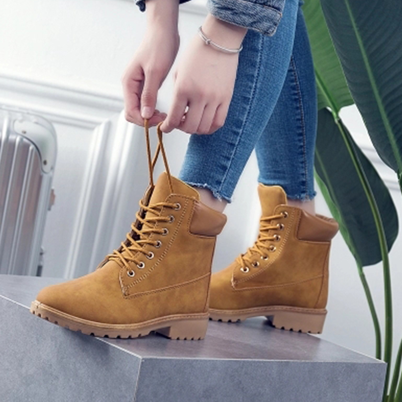 Shoes Women Ankle Boots Lace up Solid Casual Wedges Boots Martin Round Toe Women Shoes winter snow boots sapato feminino FW204 fashion casual women martin boot shoes genuine leather women winter snow boots round toe lace up ladies ankle boots work shoes