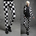 2016 new spring British style Costumes hair stylist black white plaid Pants men casual slim grid pants men feet trouser,M-XXL
