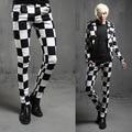 2016 new spring British style Costumes hair stylist black white plaid Pants men casual slim grid pants men feet trouser,M-XXL
