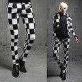 2016 nova primavera estilo britânico trajes cabeleireiro preto branco xadrez calça casual homens magro calças grade homens pés calças, M-xxl