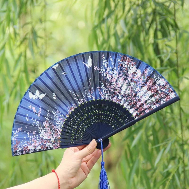 Butterfly and Flower Hand Held Silk Bamboo Japanese Folding Fan JQJ