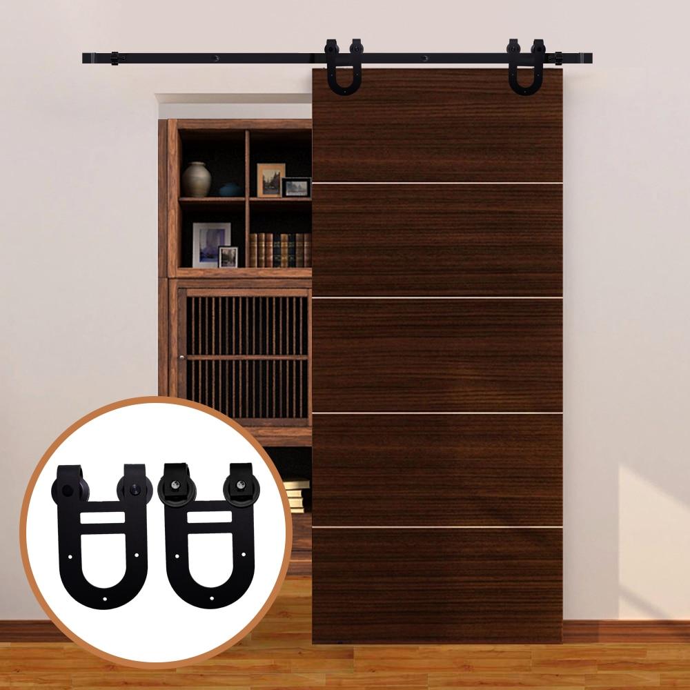 LWZH Sliding Wood Barn Door Hardware Kit Black Steel Double Horseshoe-Shaped Hangers For Single Door 6FT/6.6FT/7FT/8FT/9FT
