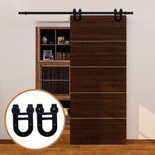лучшая цена LWZH Sliding Wood Barn Door Hardware Kit Black Steel Double Horseshoe-Shaped Hangers for Single Door 6FT/6.6FT/7FT/8FT/9FT