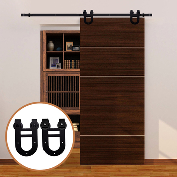 LWZH Sliding Wood Barn Door Hardware Kit Black Steel Double Horseshoe-Shaped Hangers for Single Door 6FT/6.6FT/7FT/8FT/9FT цена 2017