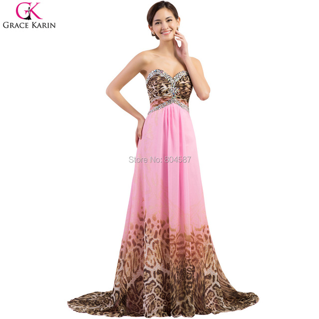 Long Grace Karin Women Chiffon Pink Leopard Pattern Mermaid Formal ...