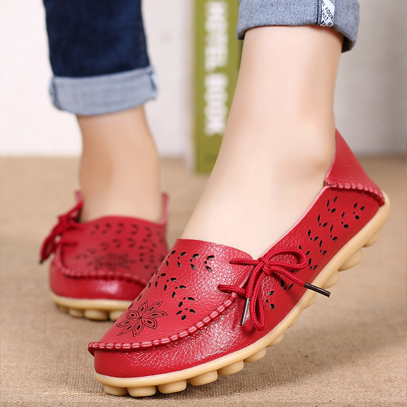Big Size 34-44 2018 Spring Women Flats Shoes Women Genuine Leather Flats Ladies Shoes Female Cutout Slip On Ballet Flat Loafers