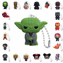 100pcs PVC Keychain Cartoon Figure Star Wars Marvel Avenger Ball chain Key Holder Fashion Charms Trinkets Send at Random
