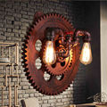 Loft Vintage Industrial E27 Edison Wrought Iron Gear Wall Lamp Lights Retro Metal Water Pipe Wall Sconces Cafe Club Store Decor