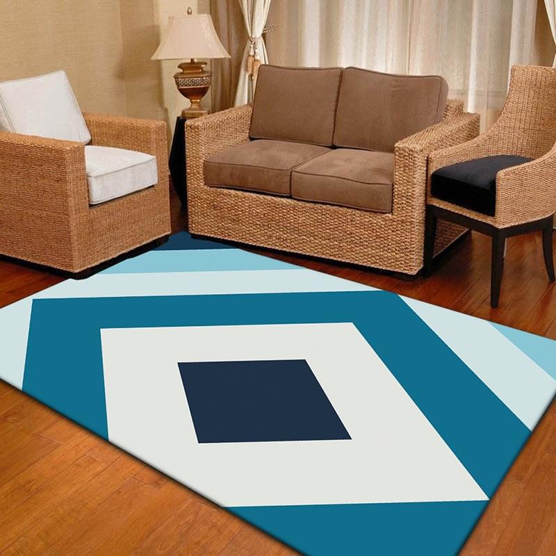 New Geometric Stripe Printed Flannel Carpet for Living Room Anti-slip Kids Bedroom Rugs European Style Sofa Table Floor Mats