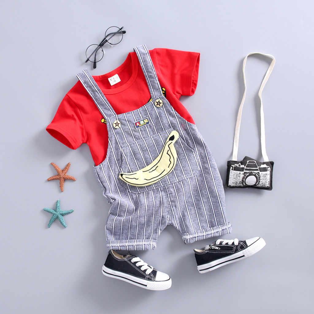 Комплект детской одежды для маленьких мальчиков и девочек, топы с рисунком, футболка, комбинезон, штаны в полоску, комплект одежды 2019 года, модная Милая одежда