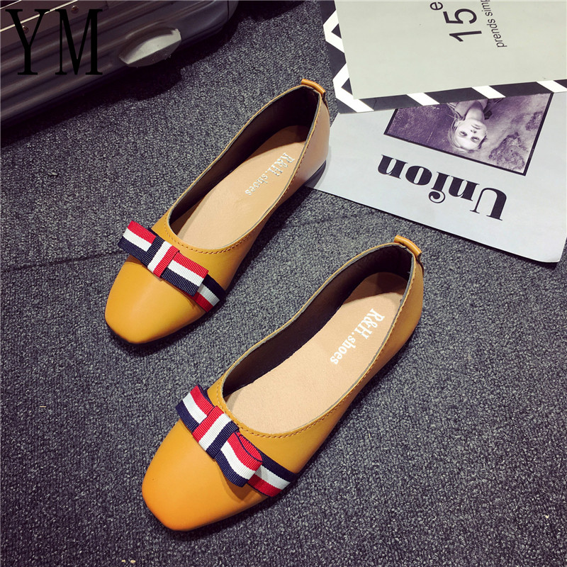 08 Women Shoes Flat Boat Shoes Spring Ladies Bow Ballet Flats Autumn Slip On Square Toe 3Colour Casual Shoes Zapatos Mujer 35-40 new women casual boat ballet shoes women round toe flats oxfords breathable lace up walking shoes zapatos plus size 35 40 w237