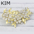 Charm Gold Plated Women hair comb Pearl jewelry crystal hairpins hair ornaments clips wedding accessories festival Gifts qiurou
