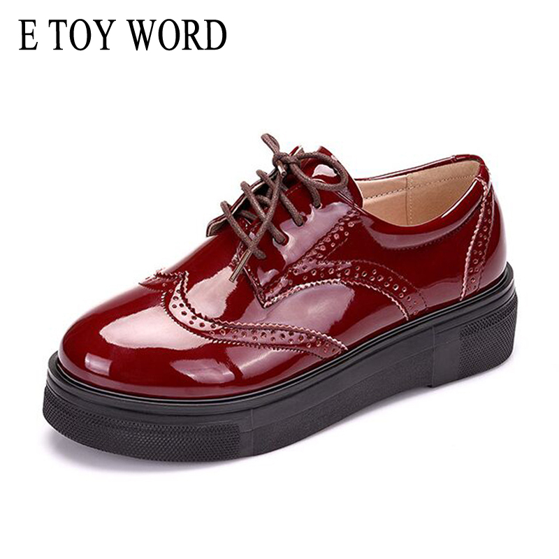 E TOY WORD Brand Spring Women Platform Shoes Woman Brogue Patent Leather Flats Lace Up Footwear Flat Oxford Shoes For Women padegao brand spring women pu platform shoes woman brogue patent leather flats lace up footwear female casual shoes for women