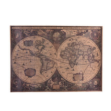 Hot Antique Home Decor Mapa Do Mundo Adesivo de Parede Gráfico Mapa Do Mundo Retro Náutico Mapas Do Mar Oceano Cartaz de Papel Kraft Do Vintage(China)