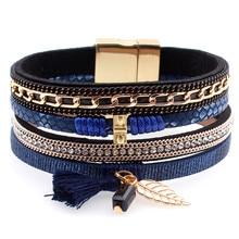 Fashion Multilayer Leather Tassel Ball Charm Rhinestone Bracelets Bangles magnet buckle Wristband Jewelry pulseira for Women men gorgeous multilayer rhinestone leaf tassel ring for women