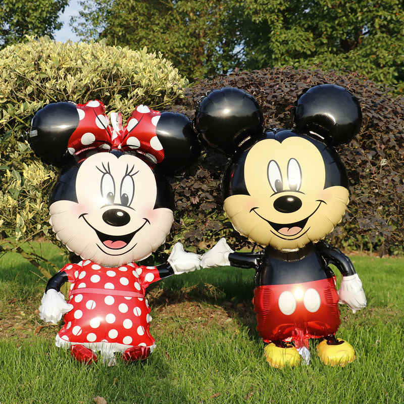 Large Mickey Minnie Mouse Foil Balloons Red Bowknot Birthday Party Decorations Kids Classic Toys Minnie Mouse Party Favors Balon