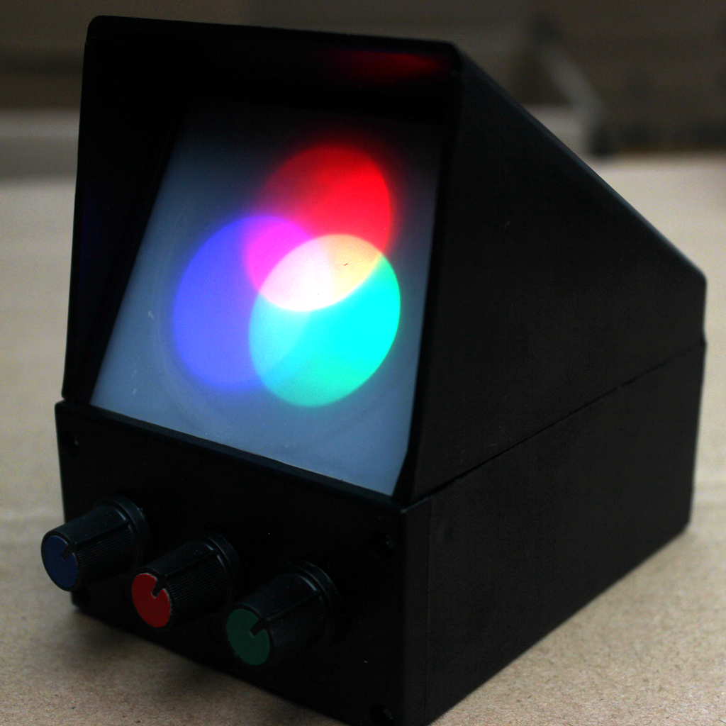 Three synthetic experimental device for <font><b>demonstrating</b></font> device of optical physics experiment of light source color image