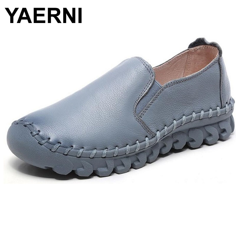 YAERNI Woman Loafers Slip On Women's Flat Shoes Handmade Shoes Genuine Leather Flats Comfortable Soft Outsole Shoes Women Flats women flats new fashion women genuine leather flat shoes woman bow casual shoes comfortable soft outsole loafers women shoes