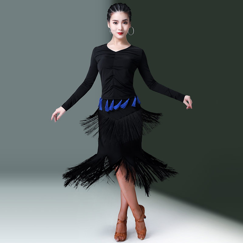 2019 Latin Dance Dress Women Black Long Sleeve Tops Fringe Skirt Tango Samba Carnival Costumes Adults Practice Dancewear DN2879