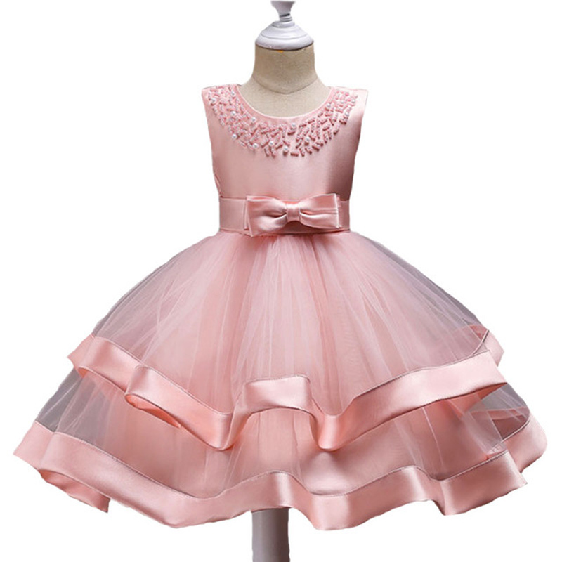Children Girls Pink Ball Gown Vestidos Dresses Infant Kids Princess Wedding Evening Party Tutu Dress Baby Elegant Summer Clothes платье oodji collection цвет черный бордовый 24001114 1m 37809 2949e размер l 48