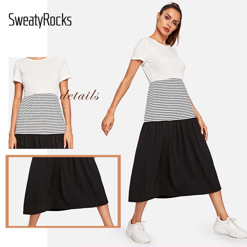 SweatyRocks цветной блок полосатый состыкованный халат платье подходит и расклешенное уличная женское платье трапециевидной формы 2019 летнее повседневное длинное платье