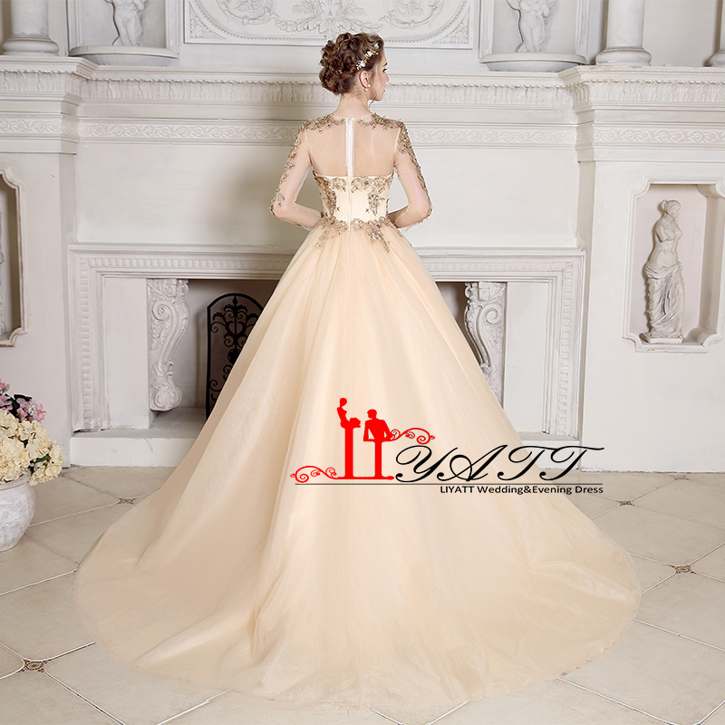 Liyatt Vintage Champagne Long Prom Dresses 2018 Gold Lace Beaded Long  Sleeves Sweep Train Tulle Formal Evening Dress Custom Made-in Prom Dresses  from ... b9b34c1a042f