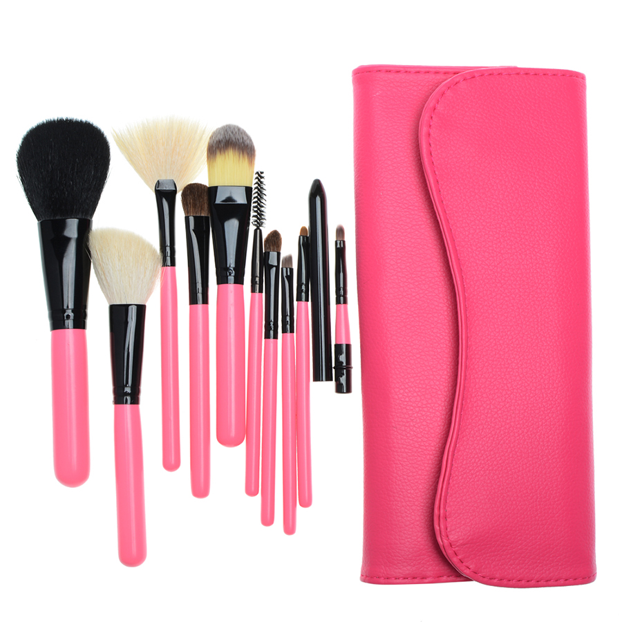 10 pcs Goat Hair Set Makeup Brushes Portable Travel Make up Brush Set Fan Foundation Contour Cosmetic Brush Set