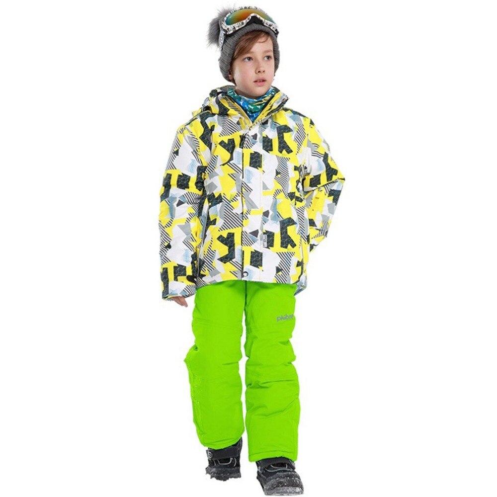 2018 costume de Ski pour garçons/filles pantalon imperméable + ensemble de veste vêtements épaissis pour Sports d'hiver costumes de Ski pour enfants