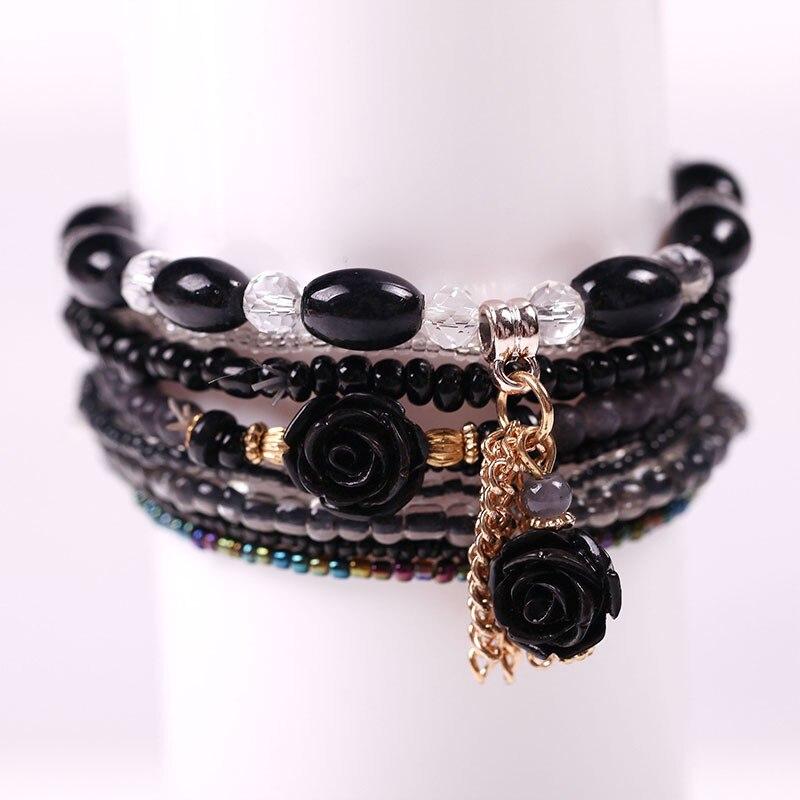Multilayer Permen Warna Kristal Beads Gelang Set Untuk Wanita - Perhiasan fashion - Foto 5