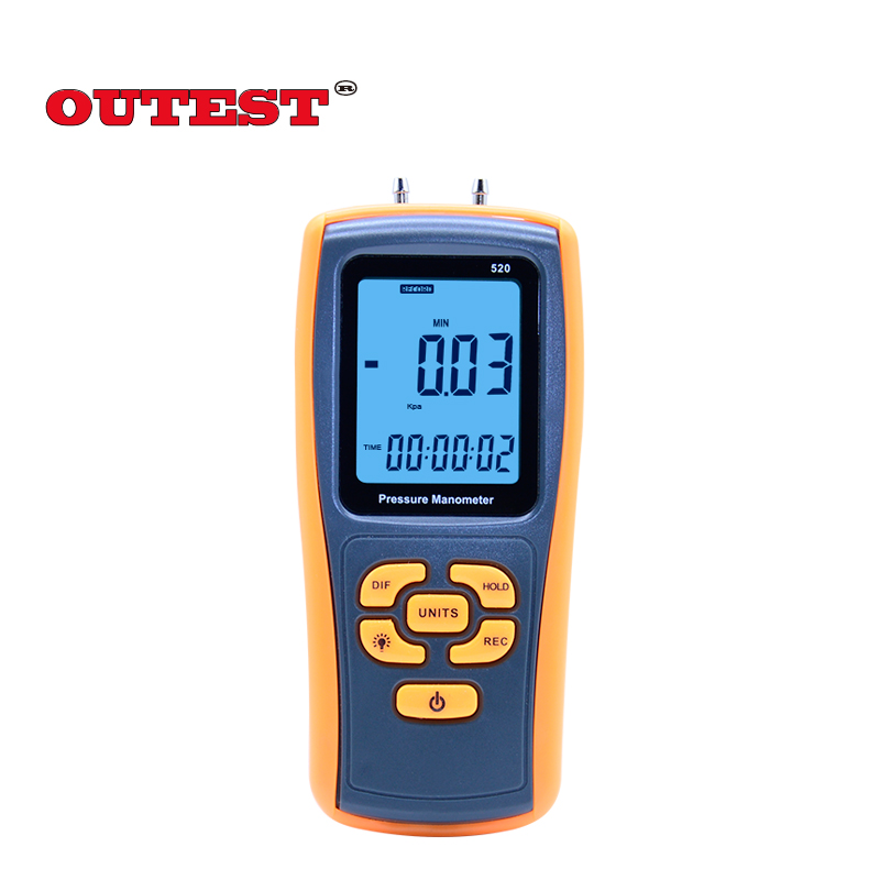 150KPa Digital LCD display GM520 Pressure manometer yellow differential manometer pressure gauge lcd pressure gauge differential pressure meter digital manometer measuring range 0 100hpa manometro temperature compensation