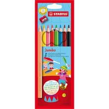 Цветные карандаши с точилкой Stabilo Jumbo 8 цветов, утолщённые