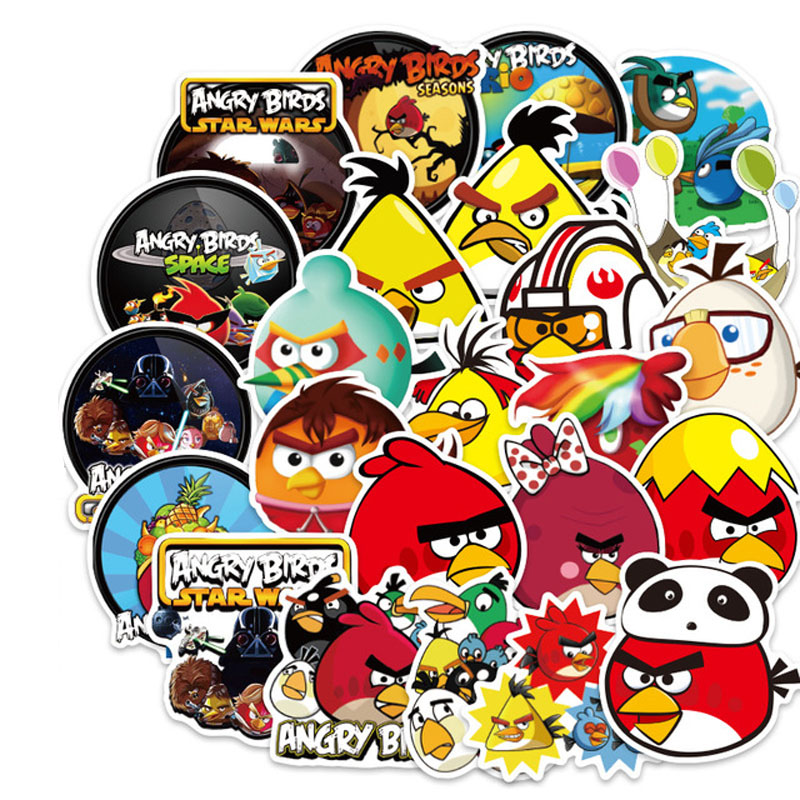 100pcs/lot Angry Bird Cartoon Sticker For Snowboard Laptop Luggage Fridge Car- Styling Vinyl Decal Stickers