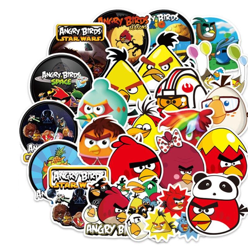 100pcs/lot Angry Bird Cartoon Sticker For Snowboard Laptop Luggage Fridge Car- Styling Vinyl Decal Stickers