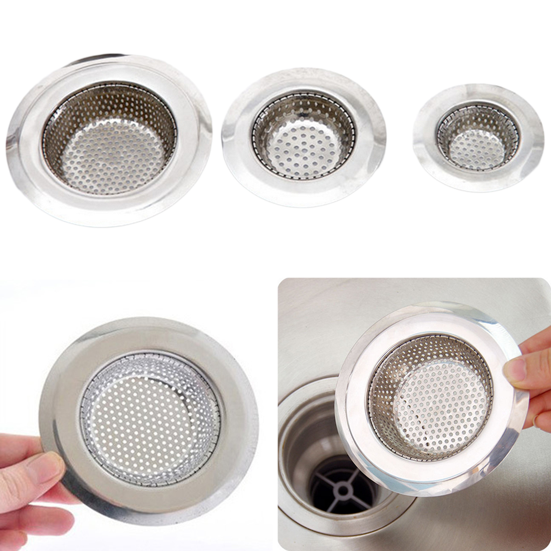 Kitchen SuppliesSink Strainer Drain Hole Filter Trap Metal Sink Strainer Stainless Steel Bath Sink Drain Waste Screen 7/9/11cm