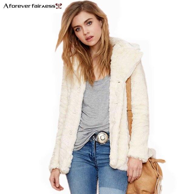 Một Vô Hạn Phụ Nữ Mùa Đông Coat Áo Ve Áo Cổ Dài Tay Áo Thời Trang Simple Faux Fur Coat Slim Ấm Lông Thú Áo Khoác Cho Phụ Nữ AFF666