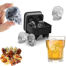 Gadgets Sale Hot Large CubeTray Pudding Mold 3D Skull Silicone 4-Cavity DIY Ice Maker Household Use A Great Mens Gift