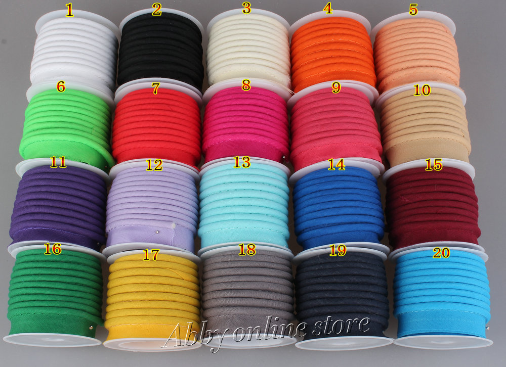 Free Shipping-Polyester Bias Piping, Bias Piping Tape With Cord, Size:12mm,15yds DIY Making,sewing Home Textile Solid Color